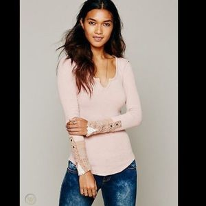 Free People Kyoto Cuff thermal top in Blush XS